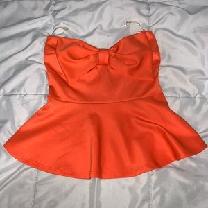 Orange Peplum Strapless Top with Bow